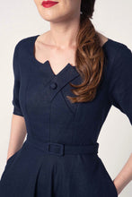 Load image into Gallery viewer, Juliet Cross Collar Navy Dress