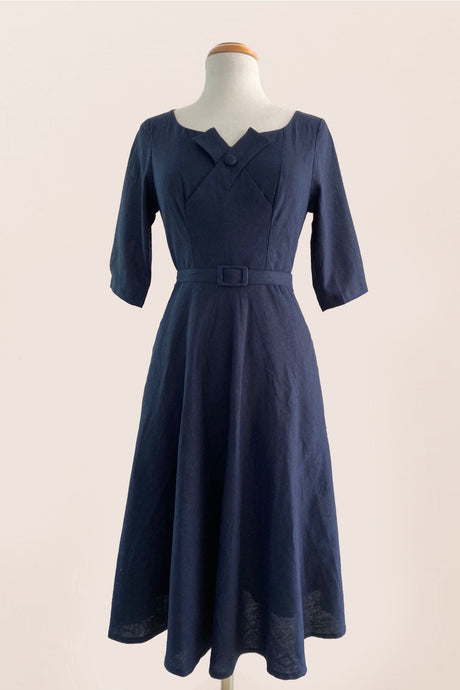 Juliet Cross Collar Navy Dress