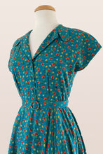 Load image into Gallery viewer, Manette Turquoise Floral Dress