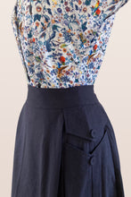 Load image into Gallery viewer, Meline Navy Linen Skirt