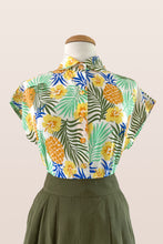 Load image into Gallery viewer, Minki Green & Mustard Tiki Floral Blouse