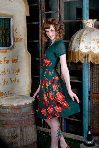 Grace Kelly Green Floral Dress Elise Design $189.00 Dresses