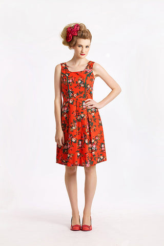 Parrot & Bushland Red Dress - Elise Design