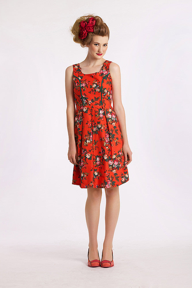 Parrot & Bushland Red Dress Elise Design $80.00 Dresses