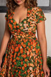 Pansy Burnt Orange & Green Floral Dress