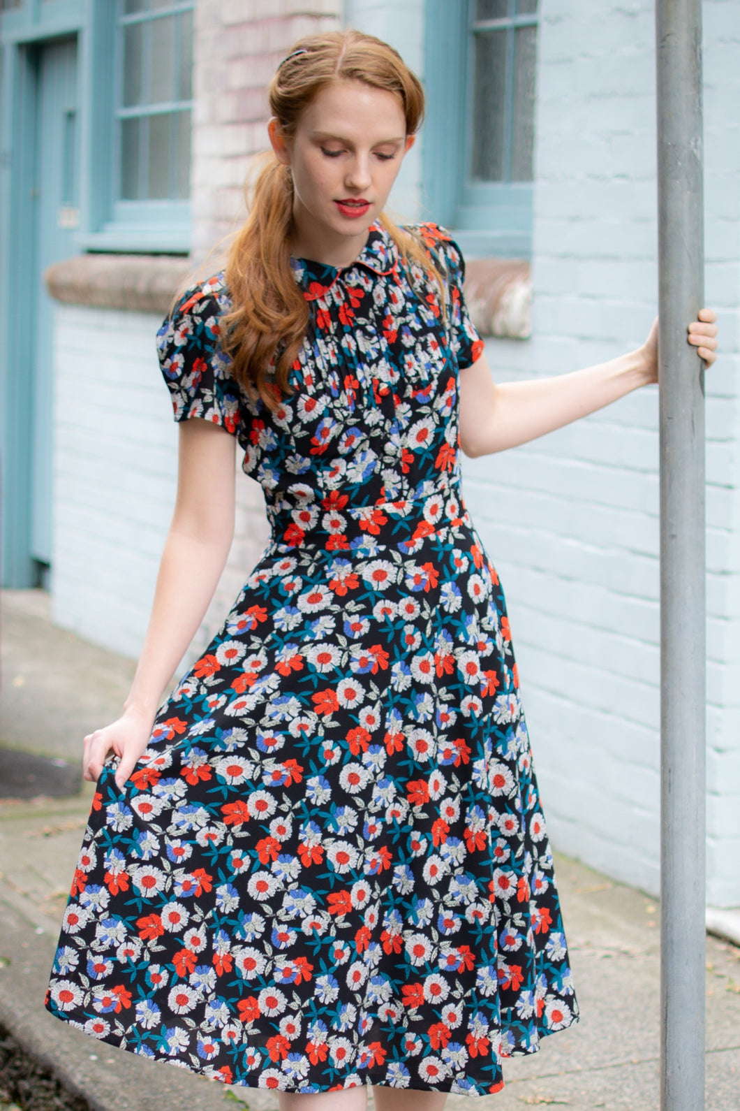 Peach Rose Red Floral Dress