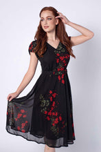 Load image into Gallery viewer, Sadie Black & Red Floral Dress