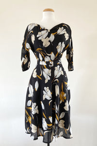 Sienna Mustard & Black Floral Dress