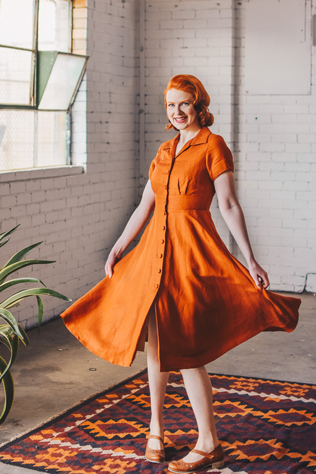 Loretta Rust Dress