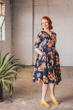 Load image into Gallery viewer, Laila Black Floral Dress