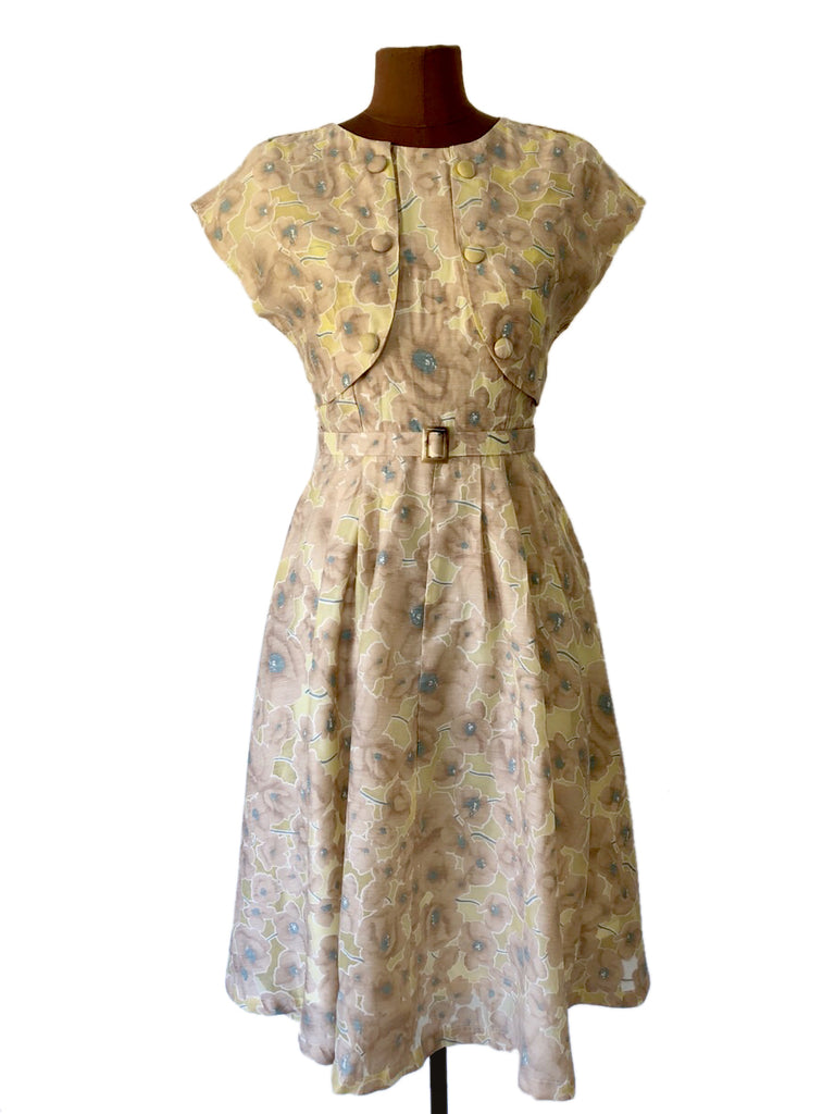 Dolores 50s Mustard & Beige Dress Elise Design $189.00 Dresses
