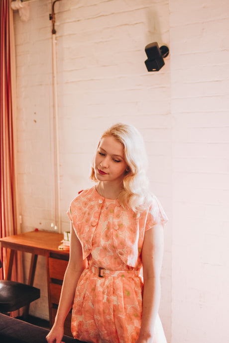 Dolores 50s Orange & Cream Dress