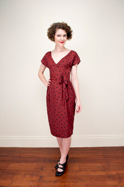 Lalleh Burgundy Dots Dress Elise Design $169.00 Dresses