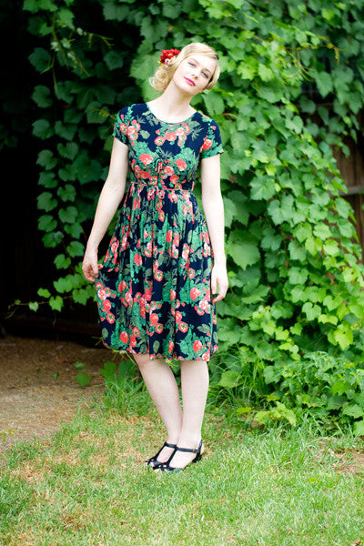 Belle Orange & Navy Dress