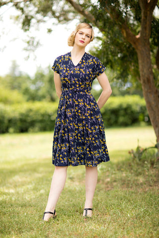 Fern Mustard & Navy Dress