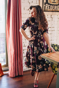 Jade Burgundy Floral dress