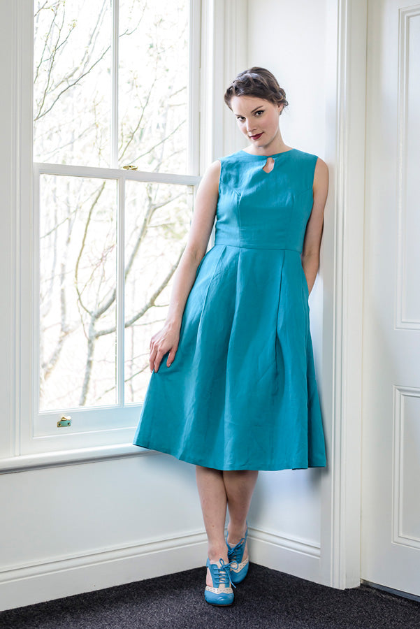 Meadow Turquoise Linen Dress Elise Design $175.00 Dresses