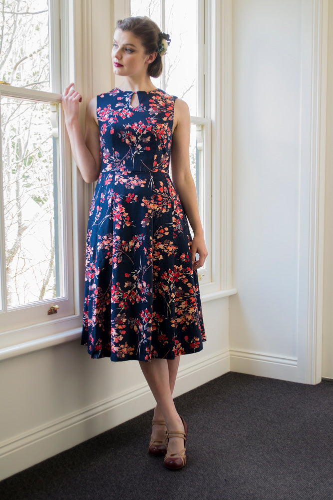 Meadow Navy & Orange Floral Dress Elise Design $179.00 Dresses