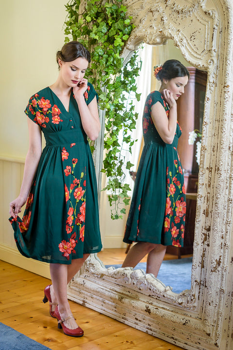 Sage Green & Orange Poppies Dress Elise Design $189.00 Dresses