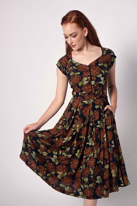 Tuscan Brown & Green Floral Dress