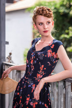 Load image into Gallery viewer, Tuscan Navy & Orange Floral Dress