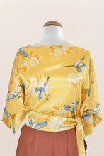Load image into Gallery viewer, Kimono Crane Yellow Blouse