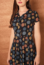 Load image into Gallery viewer, Jade Blue & Mustard Multi Dots Dress