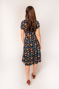 Jade Blue & Mustard Multi Dots Dress