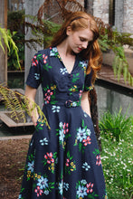 Load image into Gallery viewer, Ally Navy Floral Shirt Dress
