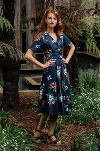 Ally Navy Floral Shirt Dress