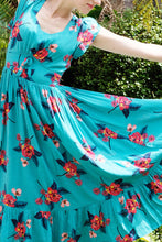 Load image into Gallery viewer, Astrid Turquoise Floral Dress