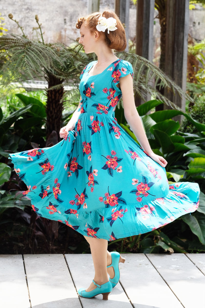 Astrid Turquoise Floral Dress