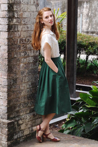 Roxy Bottle Green Linen Skirt