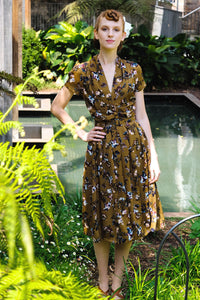 Grace Kelly Khaki Floral Dress