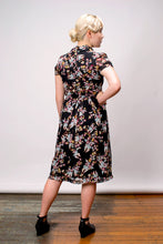 Load image into Gallery viewer, Grace Kelly Black & Blue Floral Dress