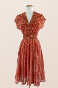 Posy Orange & Cream Dots Dress