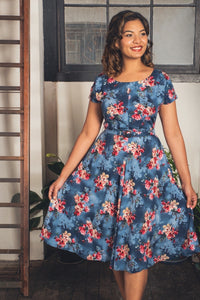Myrtle Red & Cobalt Frangipani Dress