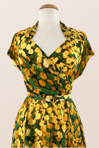 Pansy Green & Mustard Floral Dress
