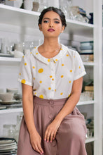 Load image into Gallery viewer, Perla Mustard Dots Blouse