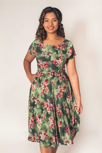 Myrtle Red & Green Frangipani Dress
