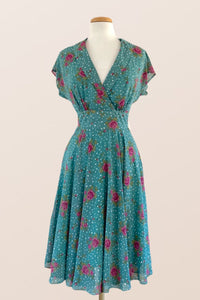 Posy Teal Floral & Dots Dress