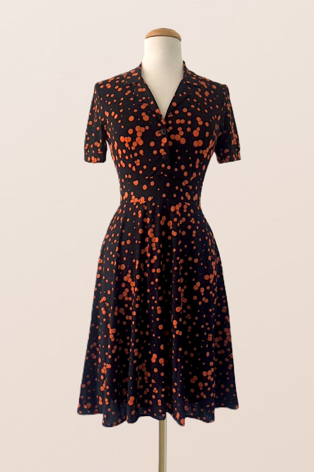 Verity Orange Polka Dot Dress