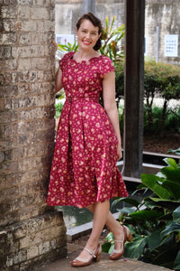 Laura Burgundy Floral Dress
