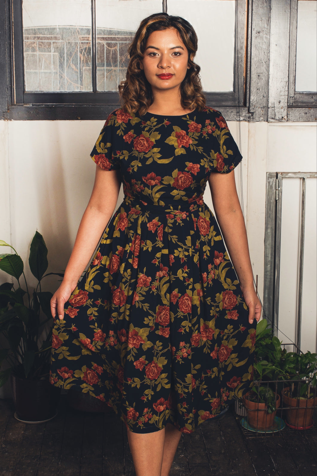 Annie Green & Burnt Orange Roses Dress