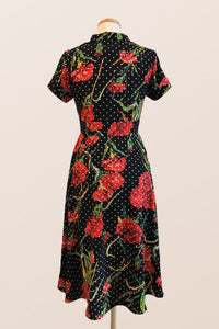 Loretta Red Floral Dress