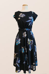 Doris Black & Blue Floral Dress