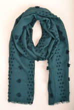 Load image into Gallery viewer, Green Pom Pom Scarf