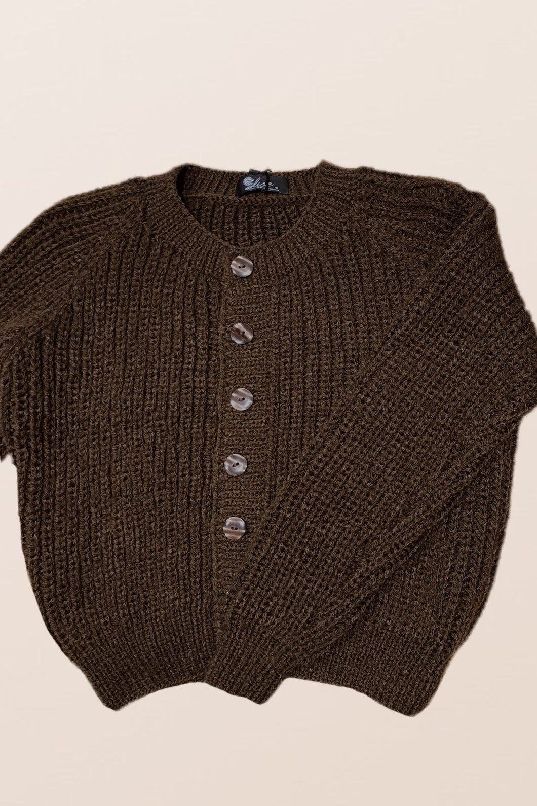 Brown Thick Mid Cardigan