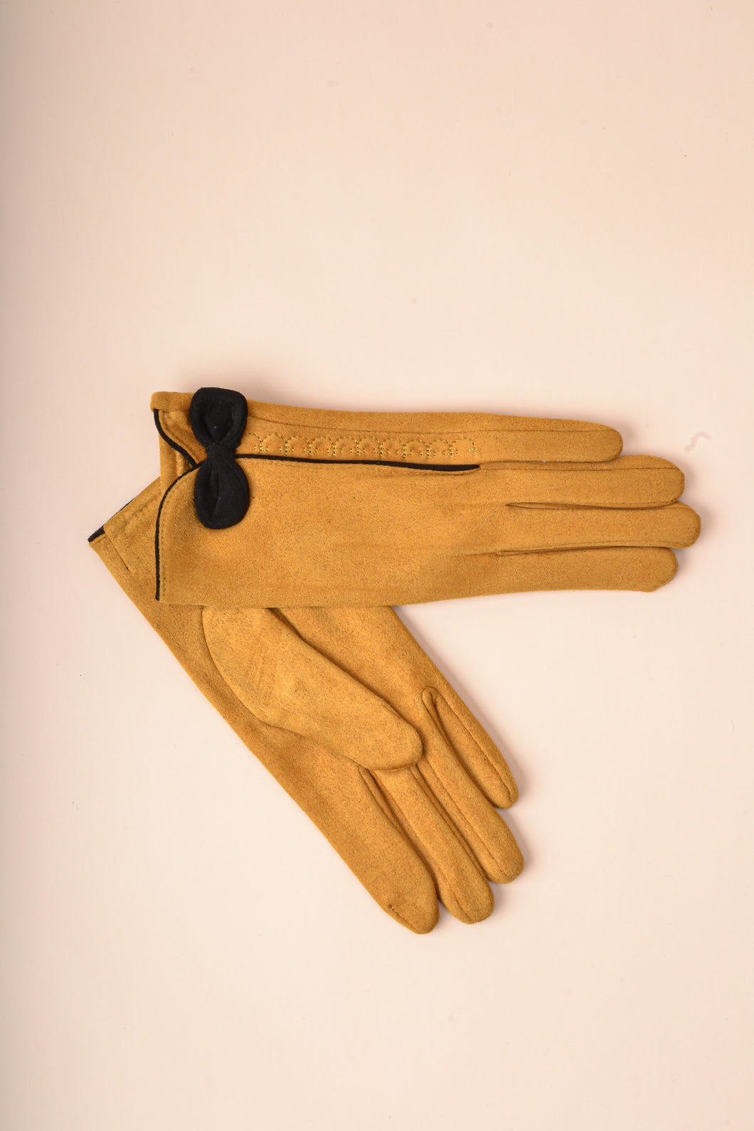 Contrast Bow Gloves - Yellow