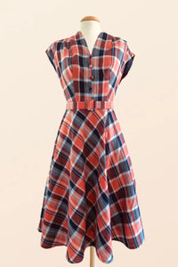 May Navy & Orange Checker Dress